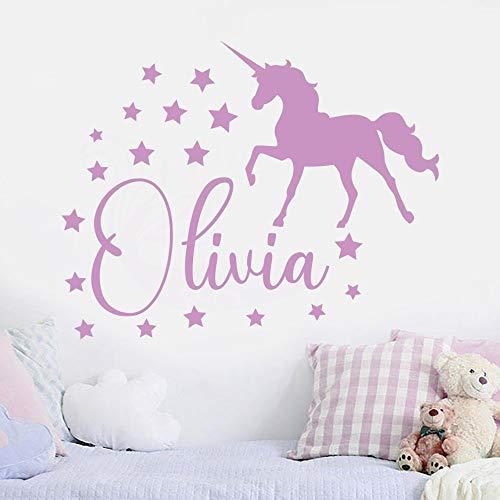 YuanMinglu Nombre de la Muchacha Dormitorio Tatuajes de Pared Princesa Unicornio Vinilo Art Sticker Rosa 53x42cm