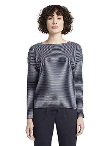 TOM TAILOR Damen T-Shirts/Tops gestreiftes Langarmshirt Navy Stripe Structure,L,21410,6000