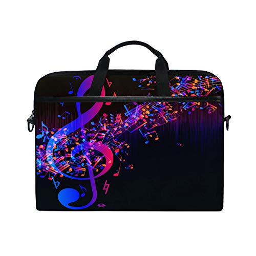 iRoad Canvas Laptop Bag Abstract Music Note Pattern Laptop Bag Case with Shoulder Strap Computer Bag for Women Men Business 14-15 Inch