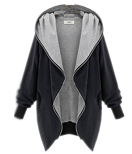Fanessy Damen Herbst Winter Full Zipper Jacke Hoodie Long Hooded Loose Oversized Parka Kapuzenjacke Cardigan Blazer Mantel Coat