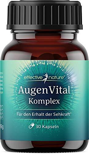 effective nature - AugenVital Komplex - mit Lutein & Zeaxanthin - Mit DHA aus Algenöl, das zur Erhaltung einer normalen Sehkraft beiträgt - Vegane Kapseln - Ohne synthetische Zusätze - 30 Stk.