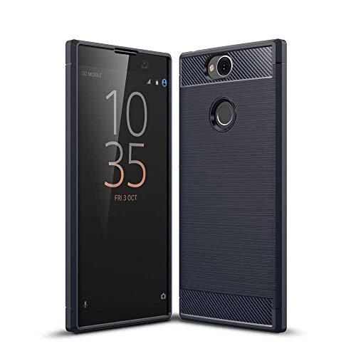 König Design Handy-Hülle kompatibel mit Sony Xperia XA2 Plus Silikon Case Hülle Sturzsichere Back-Cover Handyhülle - Carbon - Blau