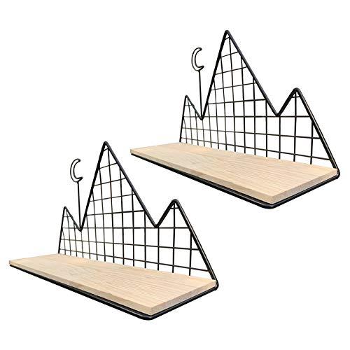 58bh Estantes flotantes, 2 piezas de metal de madera, montado en la pared, diseño creativo de alambre, estante de exhibición para el hogar, sala de estar, dormitorio, guardería, cocina, oficina, hotel