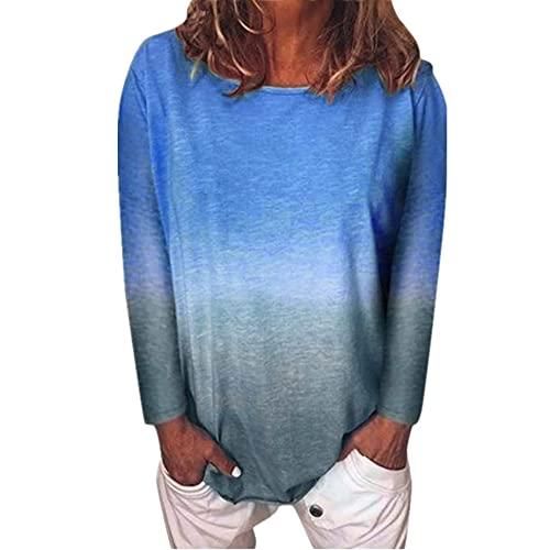 Camiseta Mujer Tops Mujer Cómodo Casual Suelto Cuello Redondo Manga Larga Primavera Y Verano Moda Tendencia Color Degradado Mujer Tops Mujer Blusa D-Blue XXL