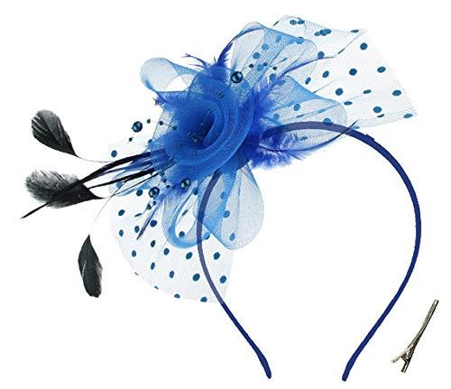 OUHO Damen Fascinator Hut Blume Mesh Federn Clip Kopfschmuck Haarschmuck für Party Kirche Hochzeit Cocktail Jockey Club blau