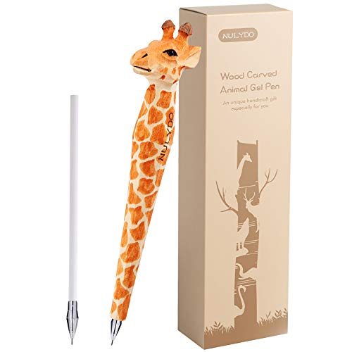 NULYDO 100% Handmade Wood Carved Animal Gel Pen   Giraffe, Fun Pen Cute Stationary Supply, Novelty Writing Pen, Office Supply, Unique Gift Pen for Animal Lovers