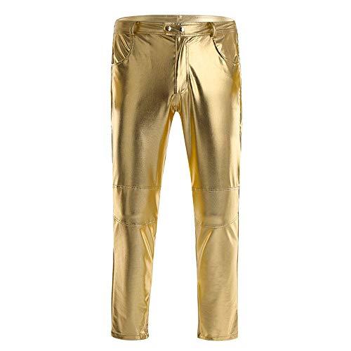 KHDFYER Borat Anzug Herren Skinny Moto Biker Enge Hose Unterer Reißverschluss Offen Für Halloween Kostüm Nacht Clubwear Legging Lange Hose-Gold_M.