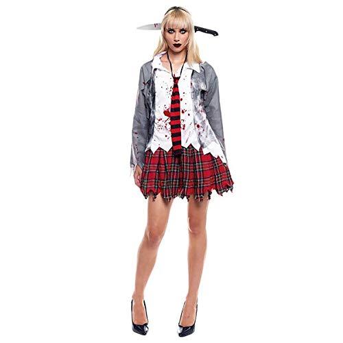 H HANSEL HOME Disfraz Zombie Colegiala Adulto - Mujer - Incluye Camisa + Falda + Corbata Cosplay/Carnaval/Halloween Size S