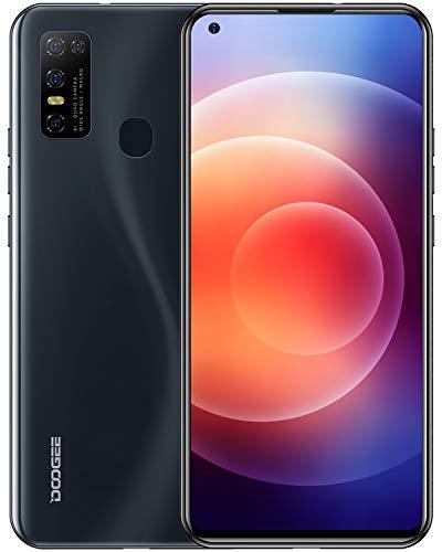 Telephone Portable 4G, DOOGEE N30 Smartphone Écran 6,55 Pouces Débloqué, Android 10.0, 4Go + 128Go,16MP/ 8MP 4 Caméras, Double Nano SIM, 4500mAh, Capteur Empreinte/Face ID - Noir