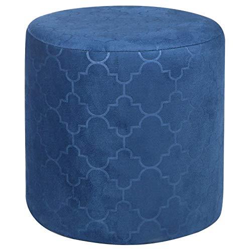 IDIMEX Pouf Ottoman Orleans Bout de canapé Repose Pieds Tabouret Rond avec poignée, siège avec Assise rembourrée en Velours Bleu