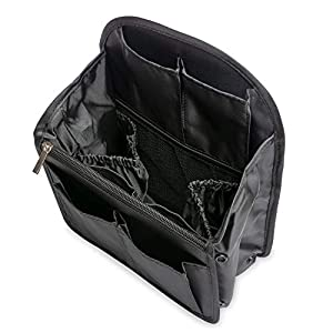 Yisigaインナーバッグ 軽量防水収納バッグ バッグインバッグ 収納力 仕分け デイパック・ フラミンゴバックパックバッグbag in bag27cm×19.5cm×11cm (S, 黒)