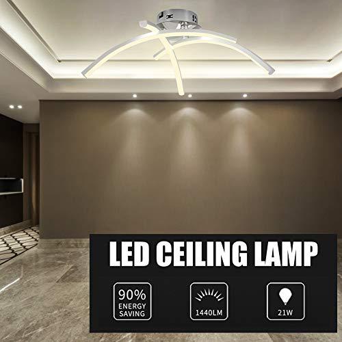DAXGD Lámpara LED de techo, 21W Plafon Techo Led 220V luz blanca cálida LED iluminación de techo, superficie en forma de horquilla para salón, dormitorio, escalera