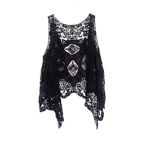 Qingzhuan Kimono Chaqueta Larga con Ligera Rebecas cordón Mujer Chaqueta de Punto Ligero y Delgada con Transparencia Rebeca Frente Abierto para Verano y Primavera (Negra)
