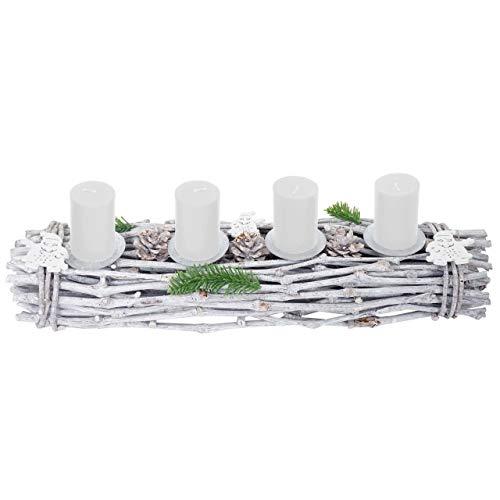 Mendler Adventskranz länglich, Weihnachtsdeko Adventsgesteck, Holz 60x16x9cm weiß-grau ~ mit Kerzen, weiß