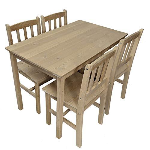 Essgruppe mit 1 Tisch 4 Stühle, Holz Tischgruppe Esstischset Sitzgruppe Esstischgruppe Esszimmergarnitur für 4 Personen, Esszimmergruppe für Küche Wohnzimmer Natur 6116-D03