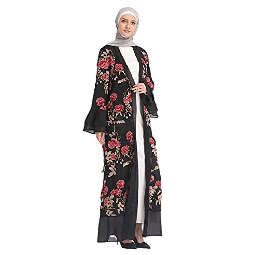 Fashion Dubai Open Abaya Lace Embroidery Long Dress Kimono Cardigan Flower Jilbab Red S