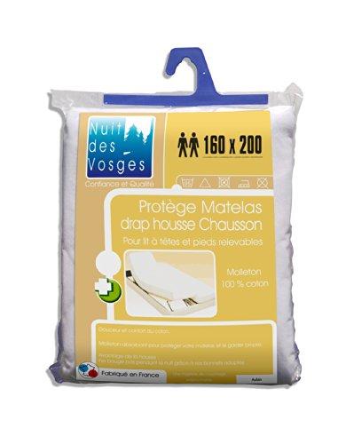 Nuit des Vosges 2060935 Aubin Protège Matelas Absorbant Molleton/Coton Blanc 160 x 200 cm