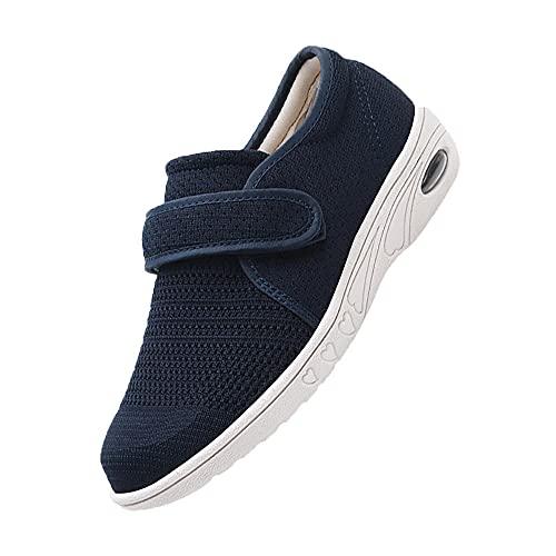 Antidérapant Confortable pour Pieds Gonflés Arthrite Oedème Pantoufles,Chaussures de Marche de diabète,Chaussures pour Personnes âgées gonflées de Pied de Grande Taille,blue-38