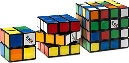 Rubik's Rubik's Tiled Trio   Classic 4x4 Cube, 3x3 Cube and 2x2 Cube, Multi-Colour Puzzle Toy Pack