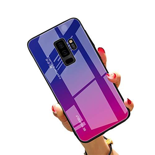 Preisvergleich Produktbild CXvwons Hülle für Samsung Galaxy S9,  Handyhülle Galaxy S9 Plus Glashülle Hybrid Silikon TPU mit Gradient 9H Gehärtetes Glas Galaxy S9 Schutzhülle Case Tasche Schale für Samsung Galaxy S9 Plus
