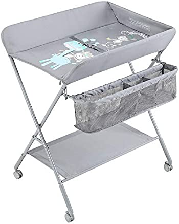 ZAQI Grey Nursery Diaper Station Foldable Portable Infant Newborn Baby Changing Table with Wheels  Load 25kg