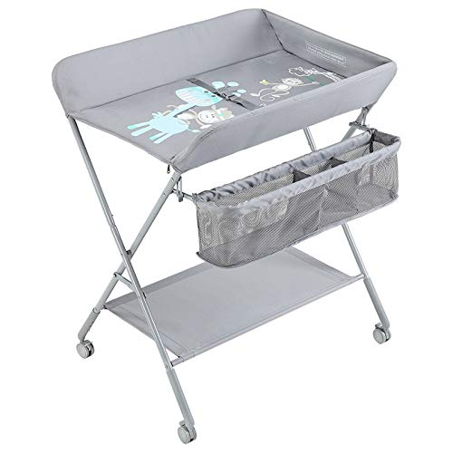 QZ Station de Couches pour bébé - Table à Langer pour bébé Nouveau-né Pliable pour Tout-Petit, Grand comptoir, Gris/Vert (Couleur : Gray)