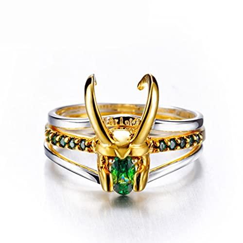 Anillo Loki Raytheon Thor Anillo de Plata Tres en Uno 925 Pendientes de Anillo Loki de Plata para La Colección de Disfraces de Cosplay Loki Hombres Mujeres Joyería Regalos