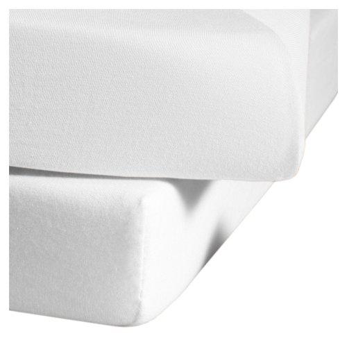 fleuresse Jenny C klassisches Jersey-Spannlaken, 100% Baumwolle, mit praktischem Rundumgummi, Fb. Weiß, Größe 150 x 200 cm, auch passend für 140/160 x 200