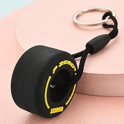 XIAOSHEN Llavero Colgante de Llavero de Llavero de Llavero de neumático de Dibujos Animados de PVC Suave de neumático Amarillo