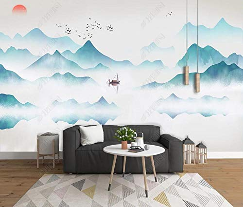Papel Pintado Pared 3d Salon Dormitorio Decoración de Pared Pintura De Tinta Montaña Azul Niebla Blanca Paisaje Fotomurales Decorativos Murales Pared Papel-350cmx256cm