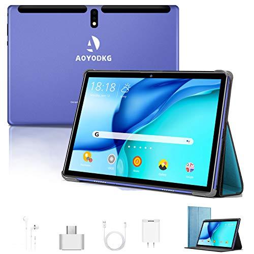 Tablet 10 Pollici Android 9.0 Pie Tablets 4GB RAM+64GB ROM,4G LTE Quad Core ,Certificato Google GSM, Dual SIM Tablet Pc con 3 Slot 8000mAh WIF I Bluetooth GPS Type-C (5.0 +8.0 MP Telecamera)-blu