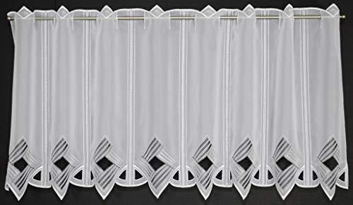 Scheibengardine Moderne Lochstickerei 45 cm hoch   Breite der Gardine durch gekaufte Menge in 16 cm Schritten wählbar (Anfertigung nach Maß)   grau/anthrazit   Vorhang Küche Wohnzimmer