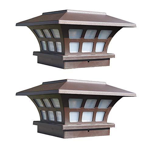 LED Solar Pfostenleuchte Outdoor Wasserdicht Garten Terrasse Zaunlicht Landschaft Deko Lichter Wegbeleuchtung, ABS Polykarbonat, 2er-Set, Braun