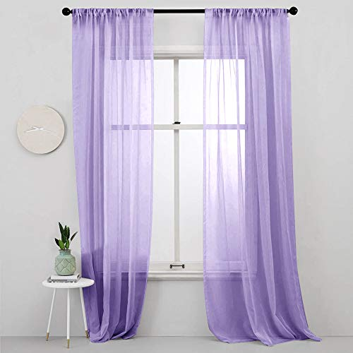 MRTREES Lilac Sheer Curtains Girls Room 84 inches Long Sheers Nursery Transparent Voile Curtain Panel Bedroom Rod Pocket Window Treatment Set 2 Panels Living Room Sliding Glass Door Light Purple