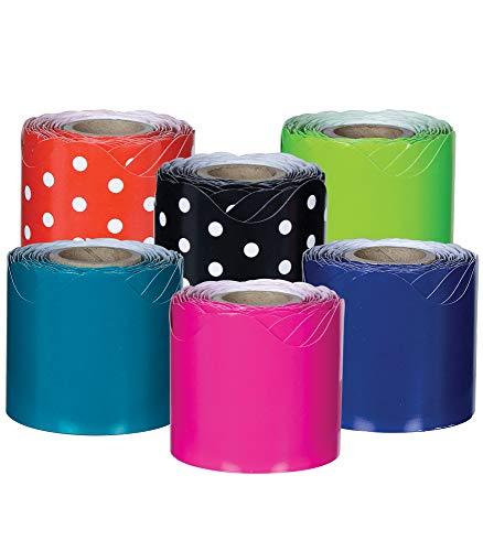 """Carson Dellosa Scalloped Bulletin Board Borders—Multicolor 6-Pack, Black and White Polka Dots, Red and White Polka Dots, Lime, Teal, Pink, Navy Rolled Borders (2.25"""" x 36' Rolls)"""