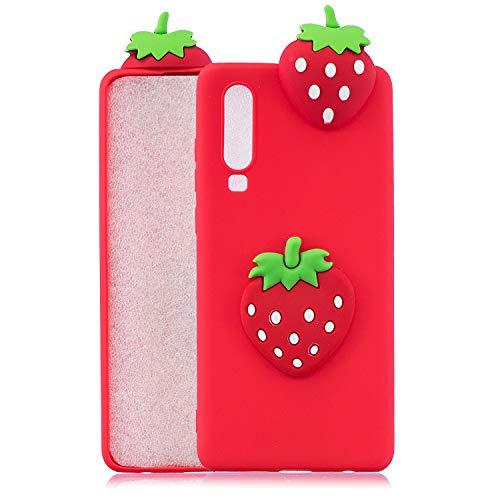 Artfeel Niedlich 3D Karikatur Hülle für Huawei P30, Obst Erdbeere Muster Weich Silikon Zurück Handyhülle,Ultra Dünn Flexibel TPU Stoßstange Stoßfest Schutzhülle