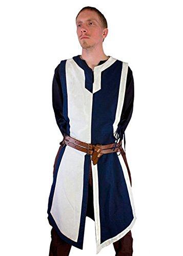 Epic Armoury Schlichter mittelalterlicher Wappenrock LARP Herrenkostüm Waffenrock Ritter Wikinger XXXS - XL (XXL, Blau/Weiß)