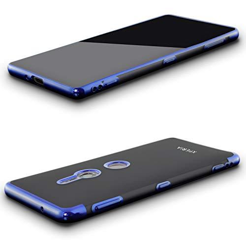 nobellgo komplettschutz Für Sony Xperia XZ3 Full 360° Cover Hülle und GLASFOLIE Hülle Tasche Schutzhülle (Blau)
