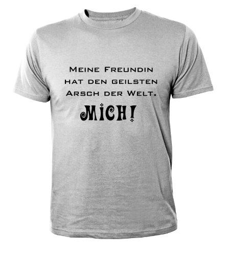 Mister Merchandise Cooles Herren T-Shirt Meine Freundin hat den geilsten Arsch der Welt, Größe: XL, Farbe: Grau