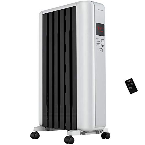 PELONIS Space Heater in Steel Cover, Portable Oil Heater with Thermostat, 24Hr Auto On/Off Timer, Remote, Oil Filled Radiator Full Room Heater with Tip Over & Overheat Protection for Indoor Use