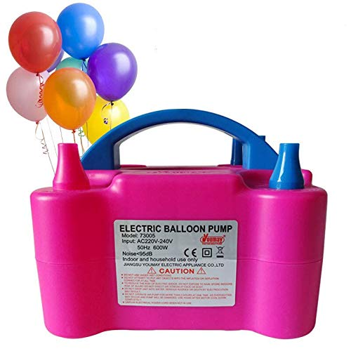 Party Propz New Two Nozzles High Power Electric Balloon Inflator Air Pump for Wedding Party, Multi Color