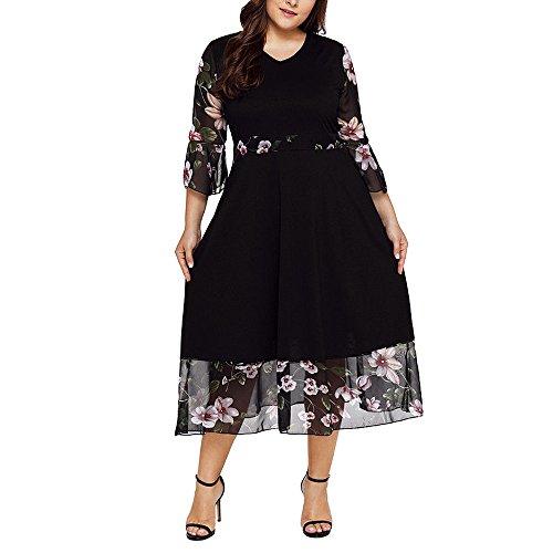 Lenfesh Tallas Grandes Mujer Vestidos a Media Pierna Abrigo con Cuello en V Negro Gasa Estampado Floral Costura Manga Corta Vestido de Fiesta de Talla Grande
