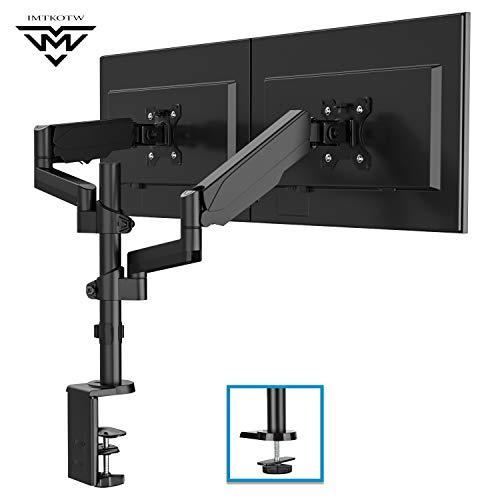 IMtKotW Dual Arm Monitor Desk Mount Stand,Height Adjustable Full Motion Gas...