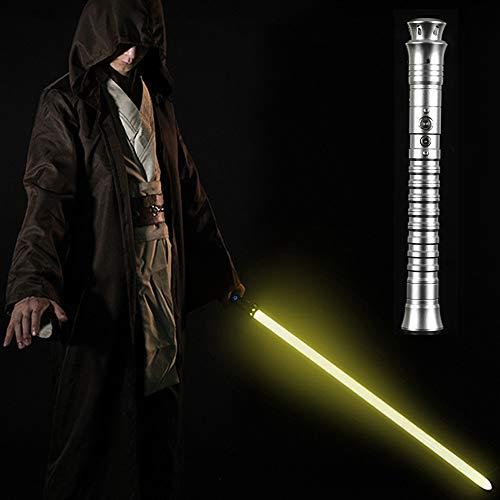 Y&Z Light Sabres para Adultos Y Niños, Ultimate Duel Lightsaber con Mango De Metal, para Niños, Adultos, Navidad, Fiesta, Cosplay (11 Colores Y 3 Sonidos), Silver