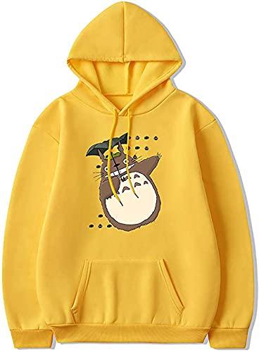 Unisex Herren Slim Fit Kapuzenpullover Totoro Hoodie Pullover Langarm Bunte Lustig Pulli Ugly Kapuzenpulli Winter Tasche,Gelb,L