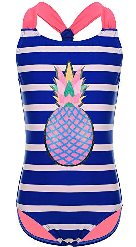DUSISHIDAN Badeanzug Mädchen Einteiliger Bikini Sommer Bademode Dunkelblaue Streifen Ananas M