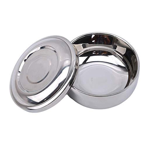 Ogquaton Premium-Qualität Edelstahl Rasierschale mit Deckel mit Spiegelabdeckung Bart Rasur Seifencreme Tasse für Männer