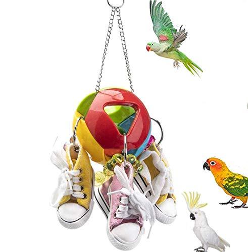 Acidea Giocattolo da Masticare Uccello Mini Scarpe di Tela, Giocattolo Pappagallo Palla Buco, Pappagallo Uccello, Gabbia per...