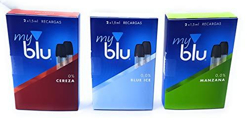 6 Recargas My Blu 0,0% Nicotina - 3 Sabores Diferentes - Blue Ice/Manazana/Cereza -