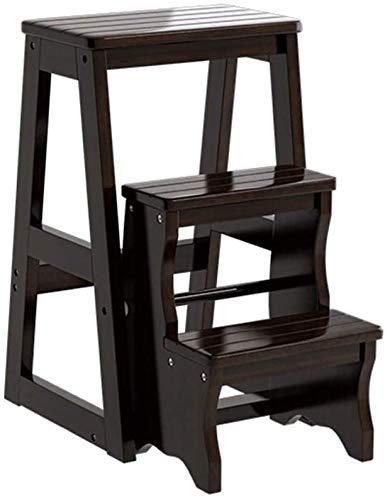 GUOXY 3-Tier Aus Holz Schritt Hocker Folding Trittleiter Tragbarer Schlafzimmer Step Mehrzweckleiter Regal-Speicher-Regal Multifunktionales Badhocker Stairway Stühle Mit Platzsparender Holzbau,Schwar